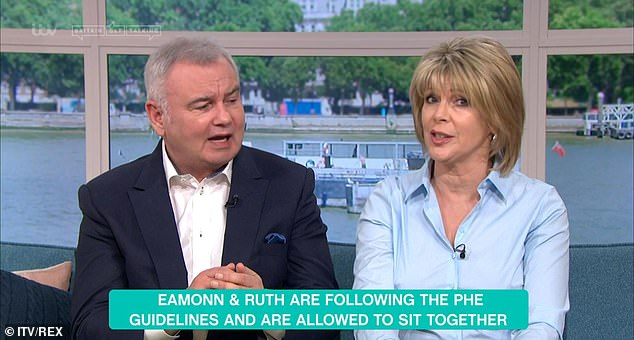 Eamonn said: 'We are here on the advice of the government medical guidelines and ITV. As we live together and share the same house, we can and should actually sit together. There is absolutely no problem with that.' with a graphic (pictured) also showing up on the show