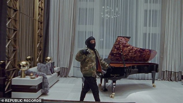 Home sweet home:The opulent home was recently featured in Drake's music video, Toosie Slide, which saw him dance around his house wearing a black face mask