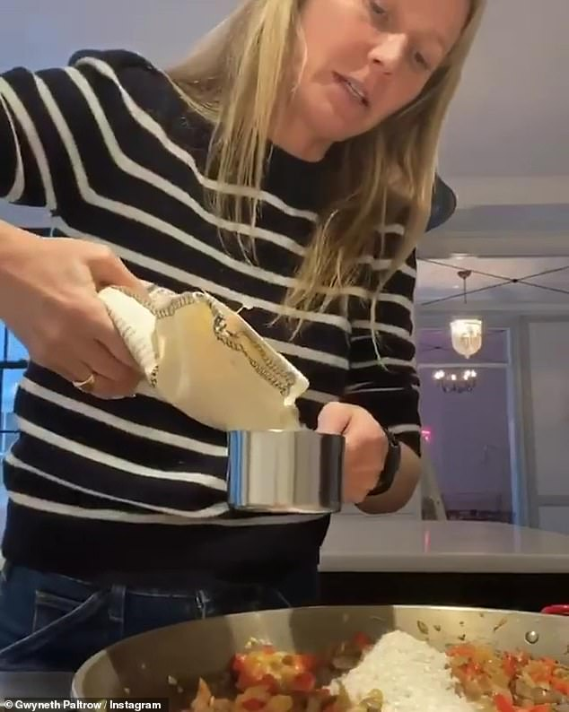 'Vegetarian Paella for the Faltrows in order to support @godslovenyc, a NYC non-profit that cooks and home-delivers medically tailored meals to individuals living with serious illness,' she captioned her cooking video