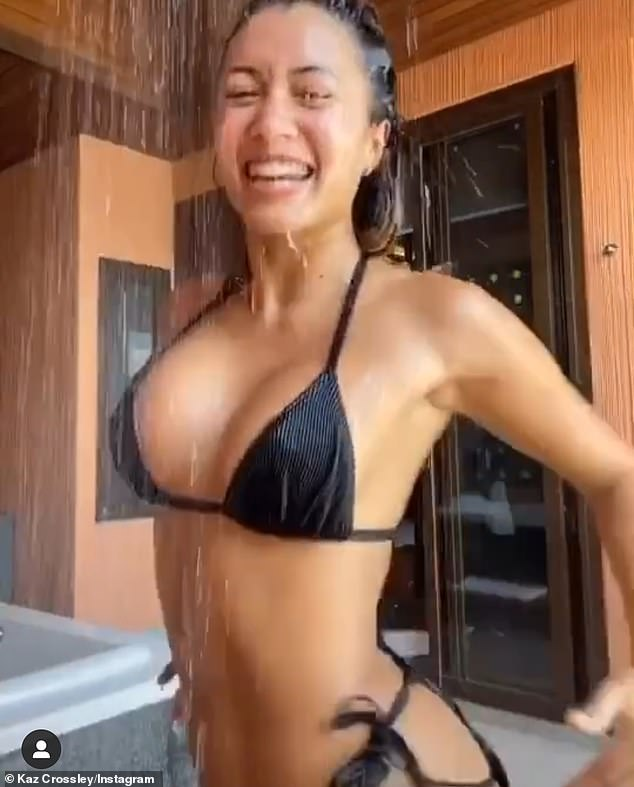 Sultry: Kaz displayed her killer curves as she uploaded a video of herself dancing in an outdoor shower