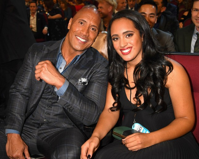 LOS ANGELES, CA - JANUARY 18: Actor Dwayne Johnson (L) and Simone Alexandra Johnson attend the People's Choice Awards 2017 at Microsoft Theater on January 18, 2017 in Los Angeles, California. (Photo by Jeff Kravitz/FilmMagic)