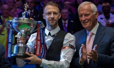 The 2019 snooker world champion Judd Trump (left) with Barry Hearn. Trump will be in action at the Marshall Arena this week.