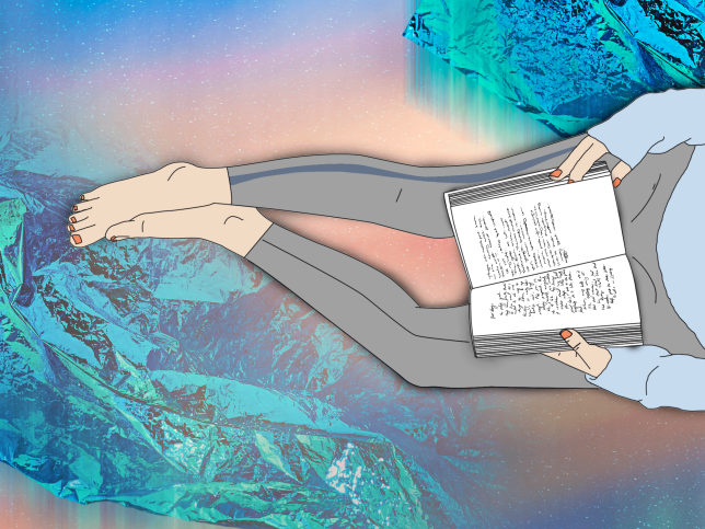 Illustration of person reading a book on a colourful metallic background