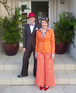 Di and Deb in 2014 in literary fancy dress as Jay Gatsby and Neely O'Hara