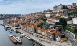 Near-empty Porto waterfront.
