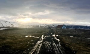 Landscape shot of Iceland. 'Hvítárnes is one of the most haunted buildings in Iceland. A title for which there's a lot of competition'.