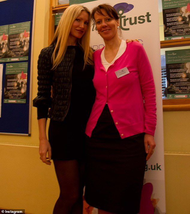 Amazing: Caprice donated £250K of her own money to support domestic abuse charity Woman's Trust (pictured with CEOHeidi before lockdown)