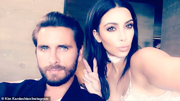 Sister, sister: 'Happy Birthday @ScottDisick!!!,' wrote Kim. 'We have so many memories together'