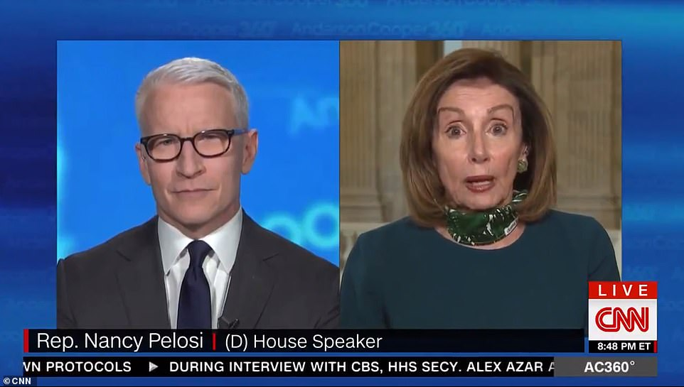 Nancy Pelosi told CNN's Anderson Cooper on Monday that 'morbidly obese' Donald Trump should not take hydroxychloroquine to prevent COVID-19
