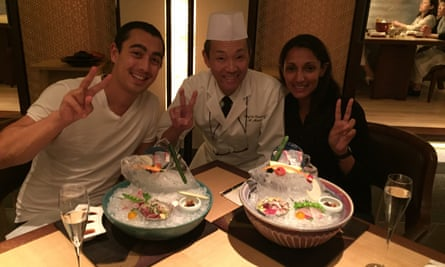 Monisha and her now husband in a restaurant in Kyoto.