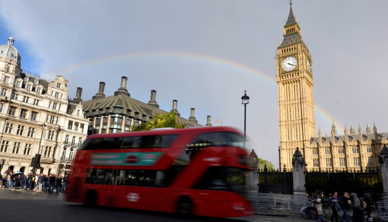 © Reuters. FILE PHOTO: A rainbow is seen behind the Big Ben clock tower, at the Houses of Parliament in central London