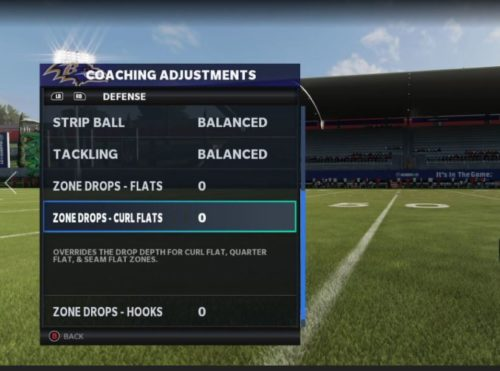 Madden 21 coaching adjustments zone drops customization 1