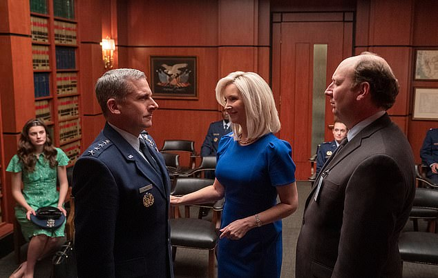 'It's allowed me so much creative and financial freedom': The comedian isn't afraid to acknowledge that the success of Friends means she can afford to be picky about the roles she takes on in future. Pictured in Space Force with Steve Carell (left)