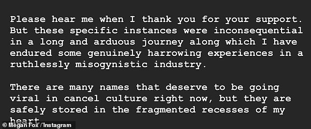 In a long note on Instagram, Megan clarified some of the stories circulating and also talked about the 'ruthlessly misogynistic industry'