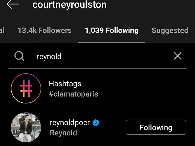 Following: According to their Instagram accounts Khanh, Brendan, Reece and Courtney are still friends with Reynold as they all continue to follow him on the social media platform