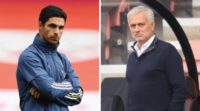 Mikel Arteta and Jose Mourinho ahead of Arsenal's Premier League clash with Tottenham