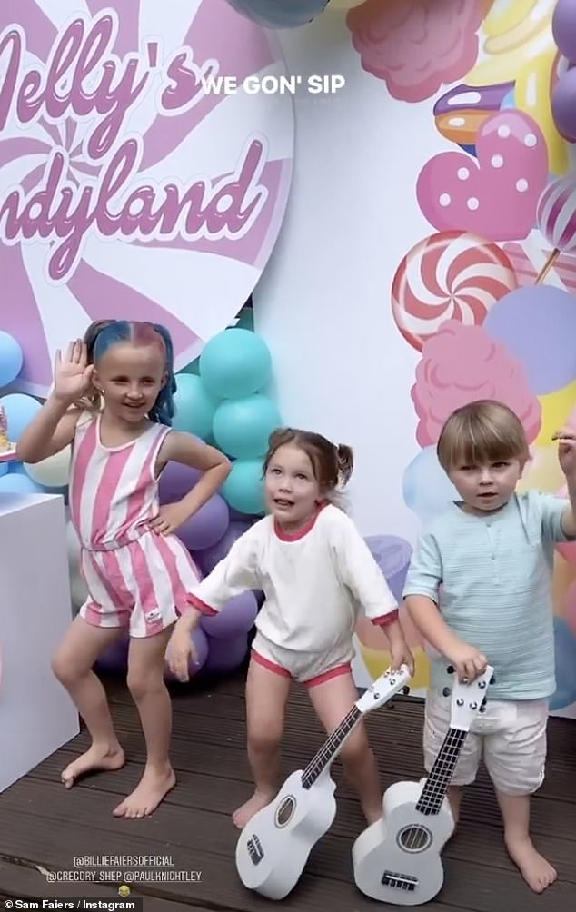 Candyland! On Saturday, mum Billie Faiers, 30, threw her daughter Nelly Shepherd an EPIC party to celebrate turning six (Pictured with brother Paul, 4, and cousin Rosie Knightly, 2)