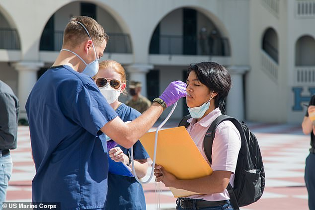The US Navy is looking to recruit 3,500 18- and 19-year-old Marine recruits for its COVID-19 Health Action Response for Marines study. Pictured: A poolee is medically screened at The Citadel in Charleston, South Caroline, May 4,