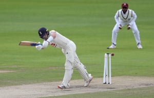 Ollie Pope is bowled out by Shannon Gabriel.