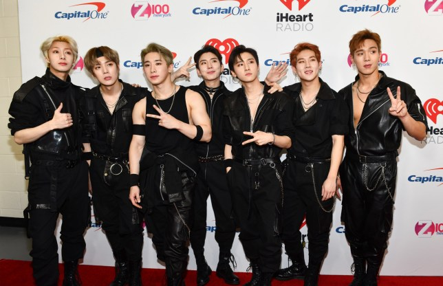 NEW YORK, NEW YORK - DECEMBER 07: (L-R) Hyungwon, Minhyuk, Wonho, Kihyun, I.M, Jooheon, and Shownu of Monsta X attend Z100's Jingle Ball 2018 at Madison Square Garden on December 07, 2018 in New York City. (Photo by Noam Galai/Getty Images)