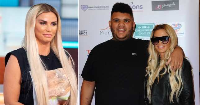 Katie Price pictured separately alongside picture of her and son Harvey
