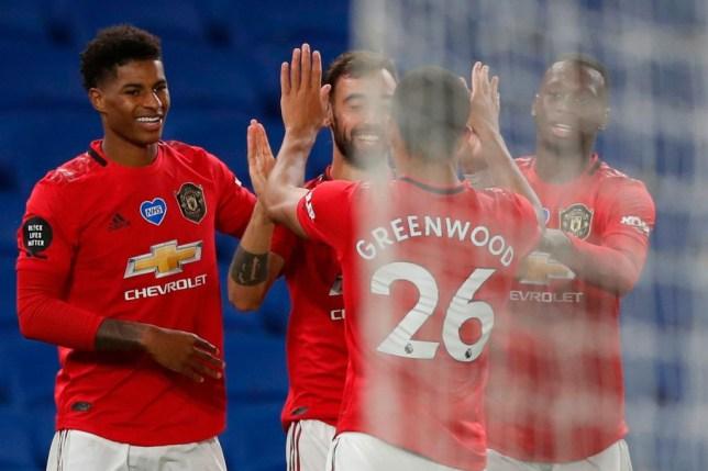 Bruno Fernandes celebrates scoring a goal for Manchester United