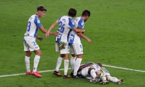 Leganés players celebrate their second goal at Athletic Bilbao.