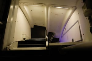 The staircase to the cabin crew bunks.