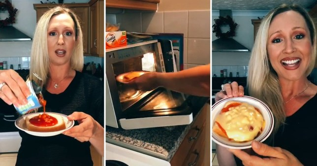 Woman pouring beans on toast
