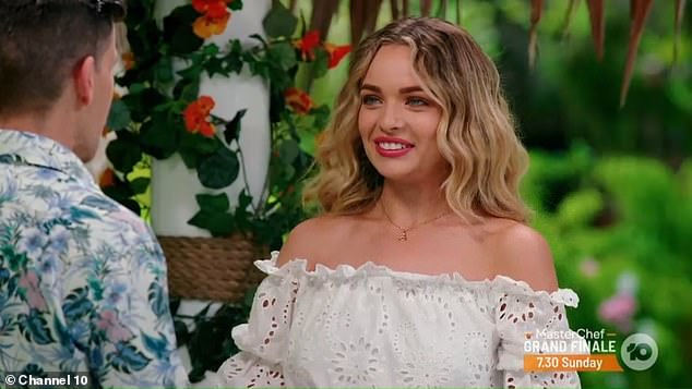 Welcome!It wasn't long until Timm was greeted by the show's second star, 2019 Bachelor runner-up Abbie Chatfield (pictured)