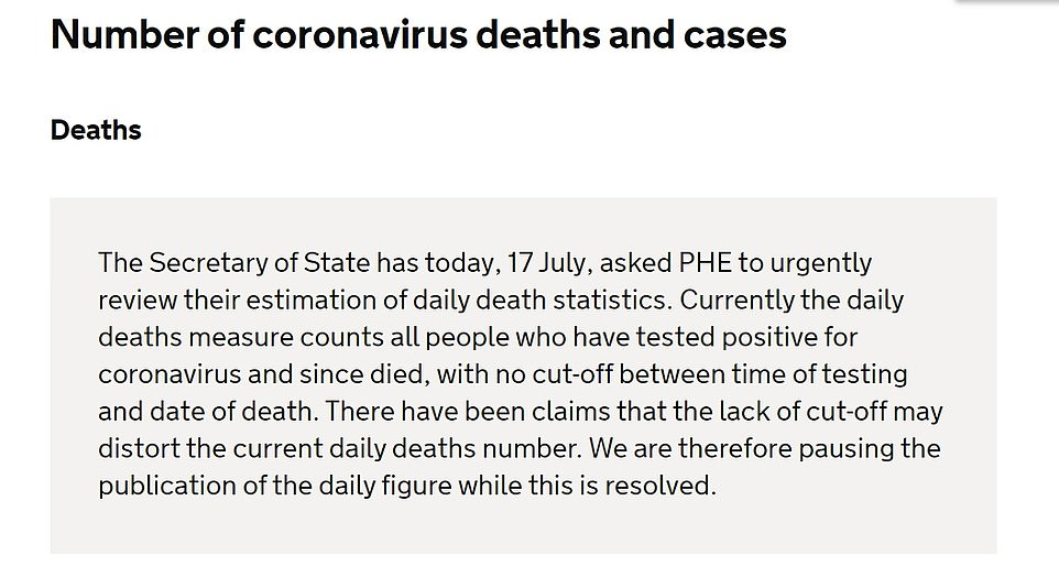 The announcement posted on the Department for Health and Social Care website regarding daily death statistics