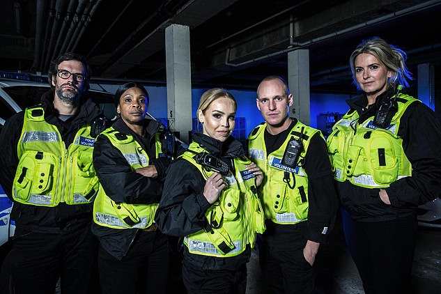 Special forces: Penny, pictured far right, appeared on the show alongside, left to right, comedian Marcus Brigstocke,Gogglebox star Sandi Bogle,TV presenter Katie Piper and Made in Chelsea's Jamie Laing