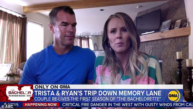 Phew: His 47-year-old wife meanwhile, revealed she was 'very, very, very grateful' that the original Bachelor Alex Michel selected her competitor Amanda Marsh in the series finale