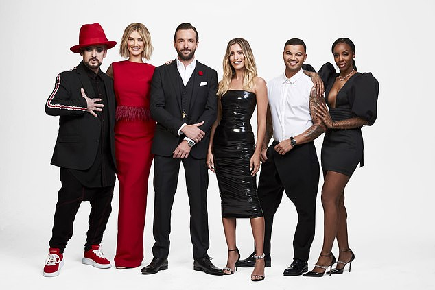 Gamble: By signing the contract, the contestants also agree they have no control over how they are portrayed on screen. Pictured from left: Boy George, Delta Goodrem, Darren McMullen, Renee Bargh, Guy Sebastian and Kelly Rowland