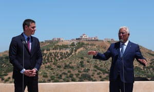 Portuguese prime minister António Costa (right) and the head of the Spanish government Pedro Sánchez (left) attend a press conference after the ceremony to mark the reopening of the borders between the two countries in Elvas, Portugal.