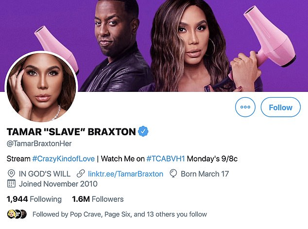 Slave:In the message obtained by The Blast , the 43-year-old reality star lamented about being a 'slave' and suggested that the 'only way out' of her situation was 'death'; Tamar referred to herself as a 'Slave' in her Twitter name pictured above