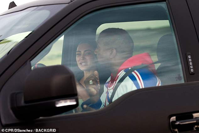 Emotionally charged: After listening to Bieber Kanye spoke to Kim. She flew to Wyoming to have a conversation with husband (above) but then was seen back in California the next day