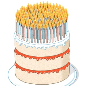 Illustration of a cake covered in candles