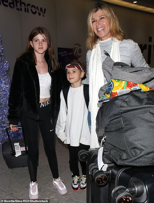 Family outing: Kate revealed that her children Darcey, 14, and Billy, 11, were with her during the incident, which took place on their first family outing without Derek (Pictured December 2019)
