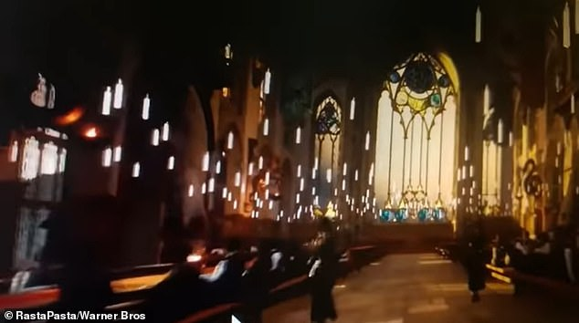 Inside the Great Hall at Hogwarts, Harry Potter's school, as seen in the leaked video by RastaPasta