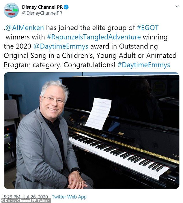 Announce:The Disney Channel PR Twitter revealed that Menken completed the last leg of the EGOT, having won an Emmy, Grammy, Oscar and Tony Award in his illustrious career