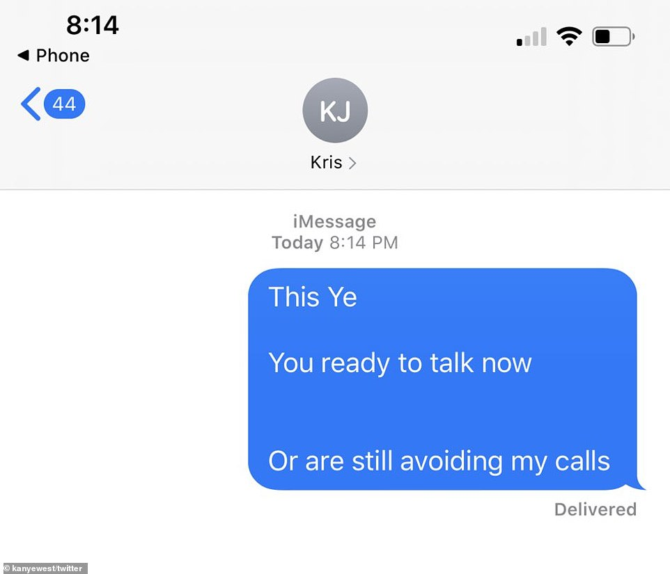 On Monday night, West tweeted out this apparent screengrab of a text message he sent Kris