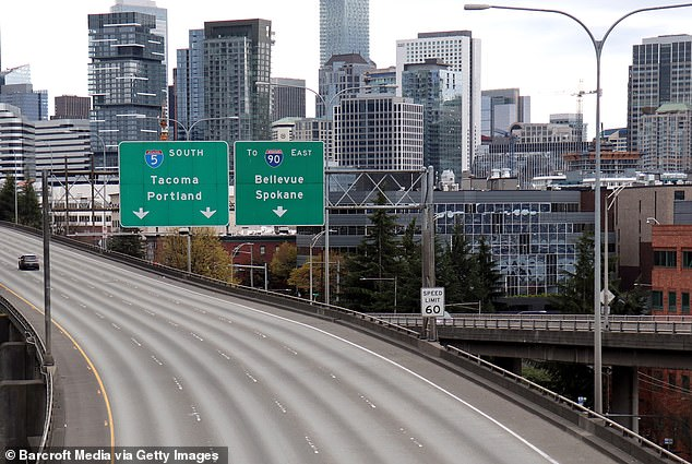 Researchers at the University of Texas, Austin, estimate that 9,000 people - including 3,000 children - likely had coronavirus in Seattle last winter, long before the city locked down (pictured)