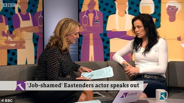 Speaking out: She then appeared on Victoria Derbyshire to admit she had felt 'hurt and embarrassed' for being 'made to feel ashamed for having a normal job'
