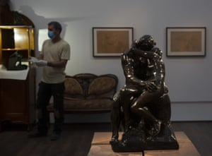 "Auguste Rodin's ""The Kiss,"" is on display in a gallery of the Israel Museum after five months in storage during the five-month closure."