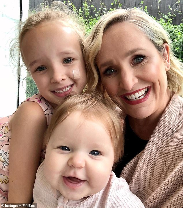 In mourning: Fifi Box (right) pulled out of her breakfast radio show on Tuesday following news that her daughter Trixie's (left) half-sister Jaimi Kenny (not pictured) had died at the age of 33. Pictured with her youngest daughter Daisy Belle (centre)