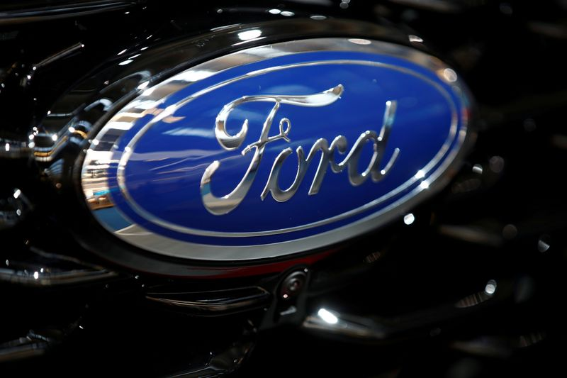 © Reuters. FILE PHOTO: Ford logo is pictured at the 2019 Frankfurt Motor Show (IAA) in Frankfurt