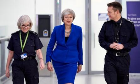 Theresa May at airport