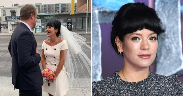 Lily Allen pictured on wedding day with David Harbour and on the red carpet