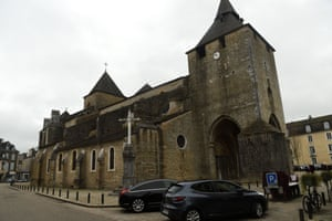 The facade of the Sainte-Marie cathedral in Oloron-Sainte-Marie, near Pau.